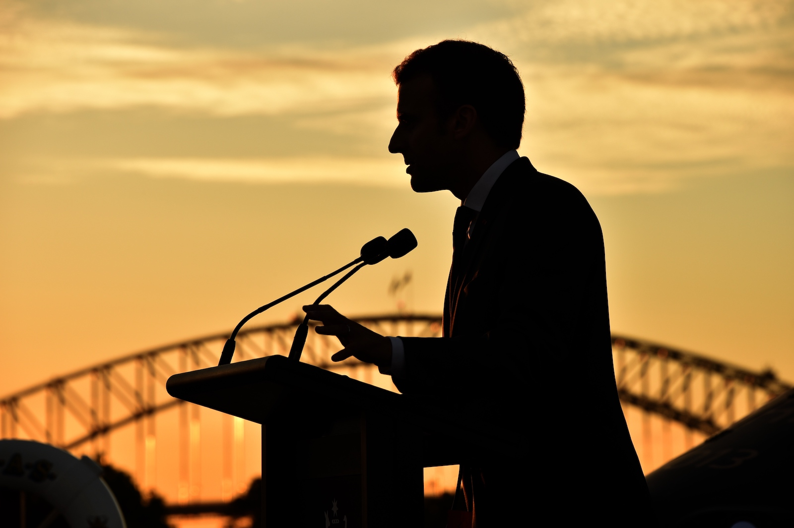French President Emmanuel Macron delivers a speech onboard HMAS Canberra in Sydney on 2 May 2018 (Peter Parks/AFP via Getty Images)