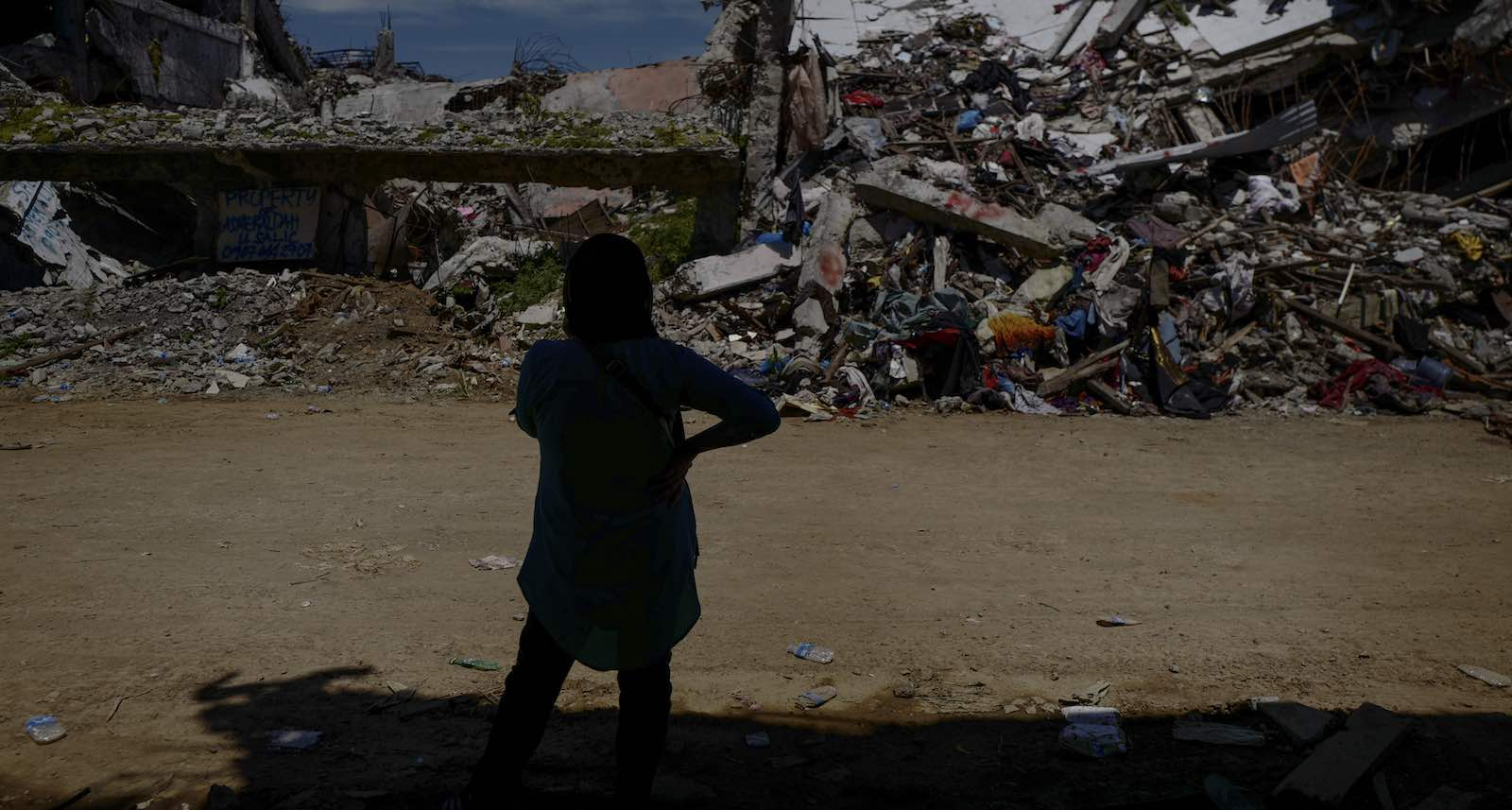 Amid the destruction inside Marawi city on the anniversary of the siege, 10 May 2018 (Photo: Jes Aznar/Getty)