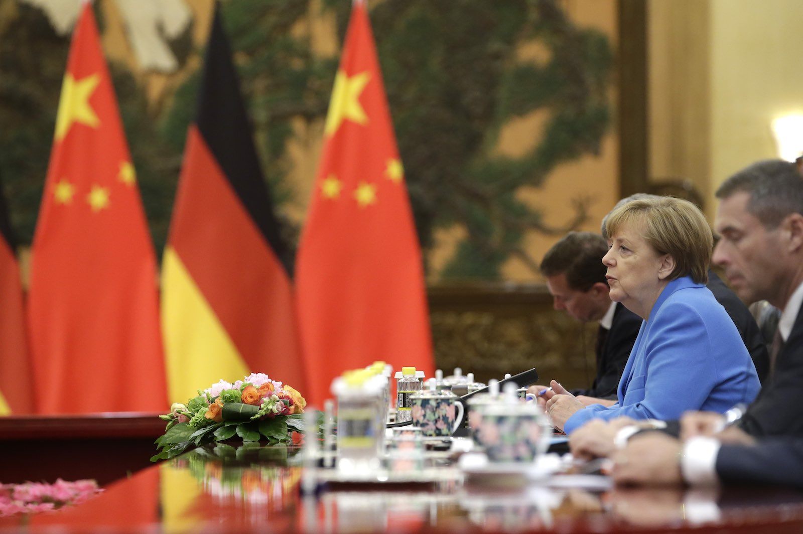 German Chancellor Angela Merkel at the Great Hall of the People in Beijing, China (Photo: Jason Lee via Getty)
