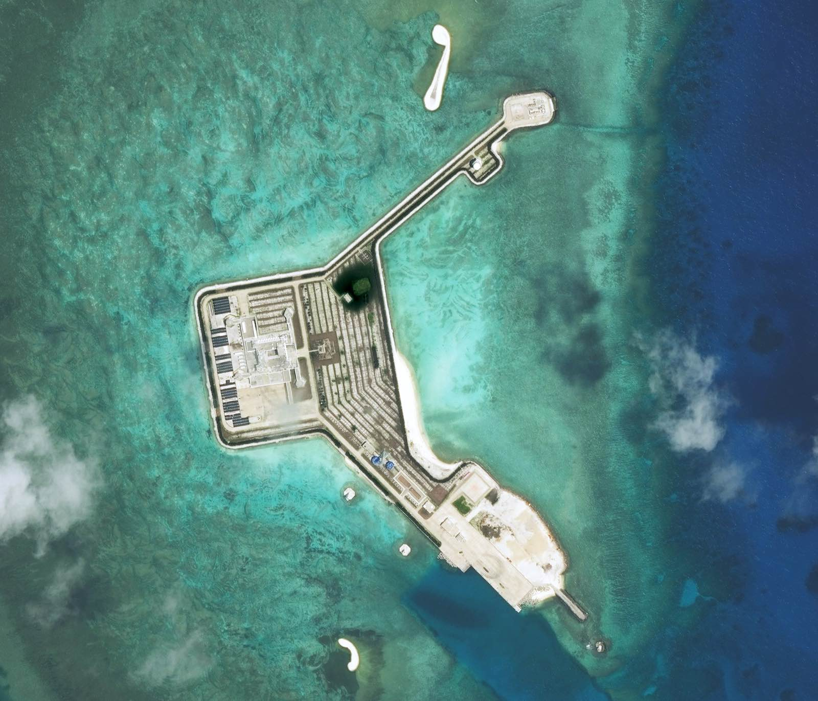 Structures constructed by China on the Gaven Reefs in the Tizard Bank of the Spratly Islands in the South China Sea (DigitalGlobe via Getty Images)
