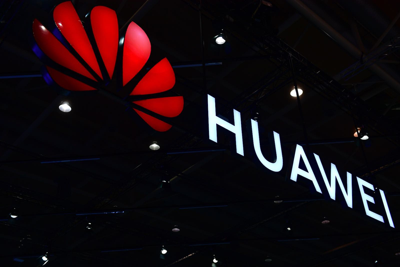 The Huawei logo displayed at the 2018 CeBIT technology trade fair on 12 June in Hanover, Germany (Photo: Alexander Koerner/Getty)