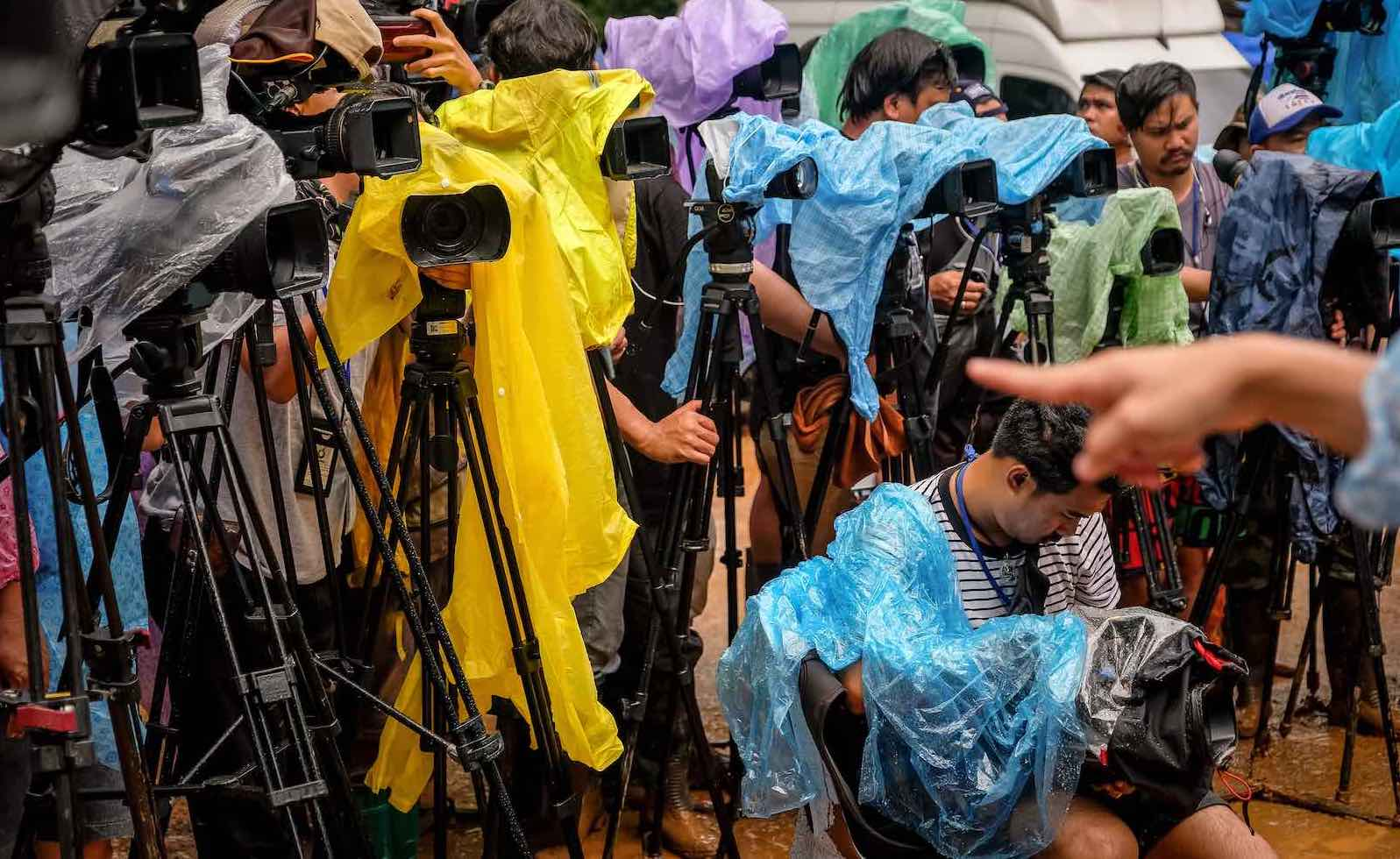 Waiting for news outside the cave at Tham Luang Nang Non, Thailand (Photo: Linh Pham/Getty)