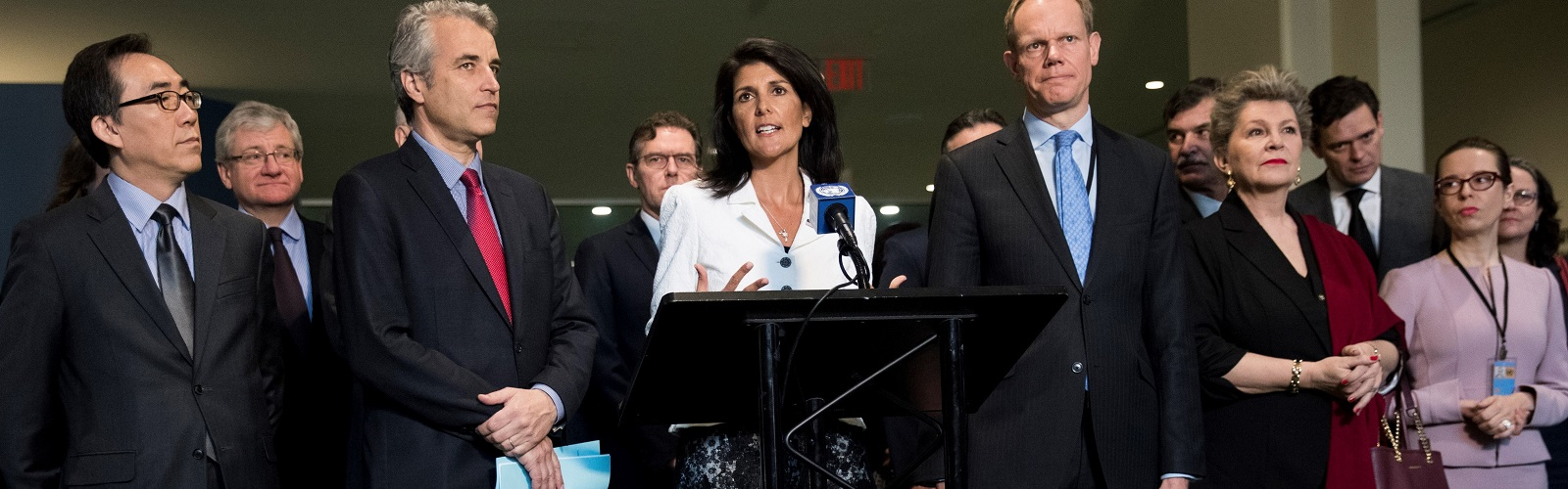 United in their isolation: The US UN Ambassador Nikki Haley with representatives of other nations opposing the nuclear ban treaty on 27 March (Photo: Drew Angerer/Getty)