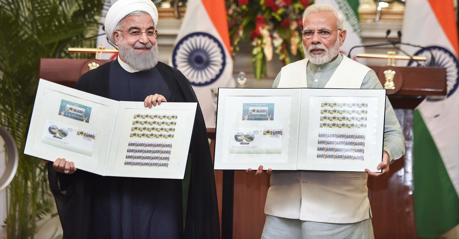 Iranian President Hassan Rouhani and Indian Prime Minister Narendra Modi at Hyderabad House, New Delhi, in February (Photo: Vipin Kumar/Hindustan Times via Getty)