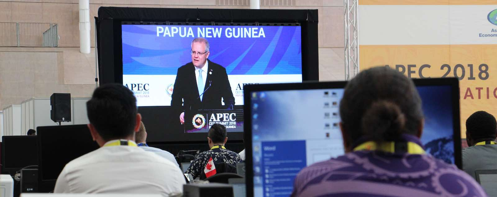 Australian Prime Minister Scott Morrison speaks to APEC leaders in Port Moresby (Photo: Shane McLeod)