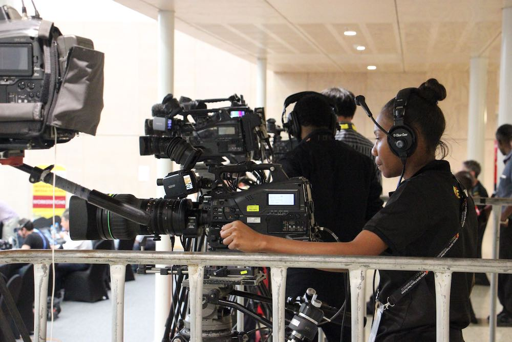 Media crew at the 2018 APEC leaders summit in Papua New Guinea (Photo: Shane McLeod)