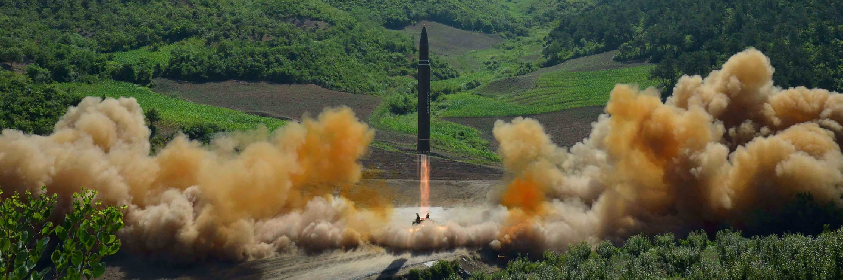 This photograph, released by the Korean Central News Agency in North Korea on 4 June 2017, depicts the test firing of an intercontinental ballistic missile.