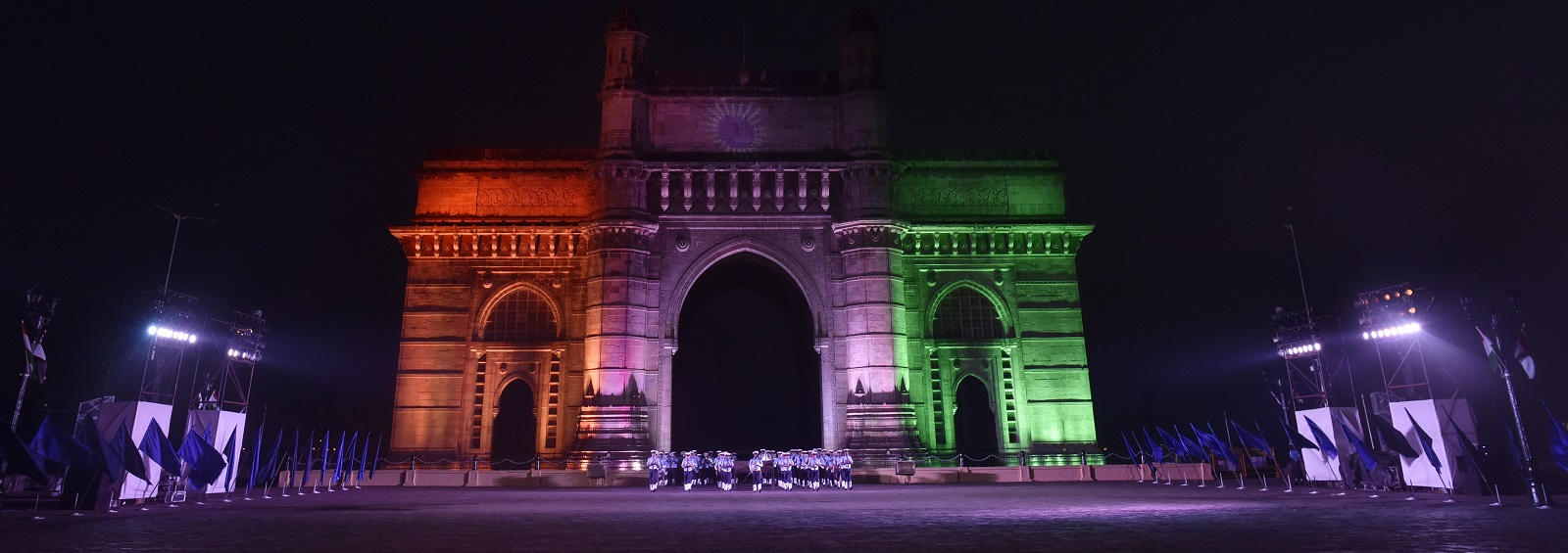Gateway of India lit up for Navy Day, 4 December 2016 (Photo: Anshuman Poyrekar/Getty Images)