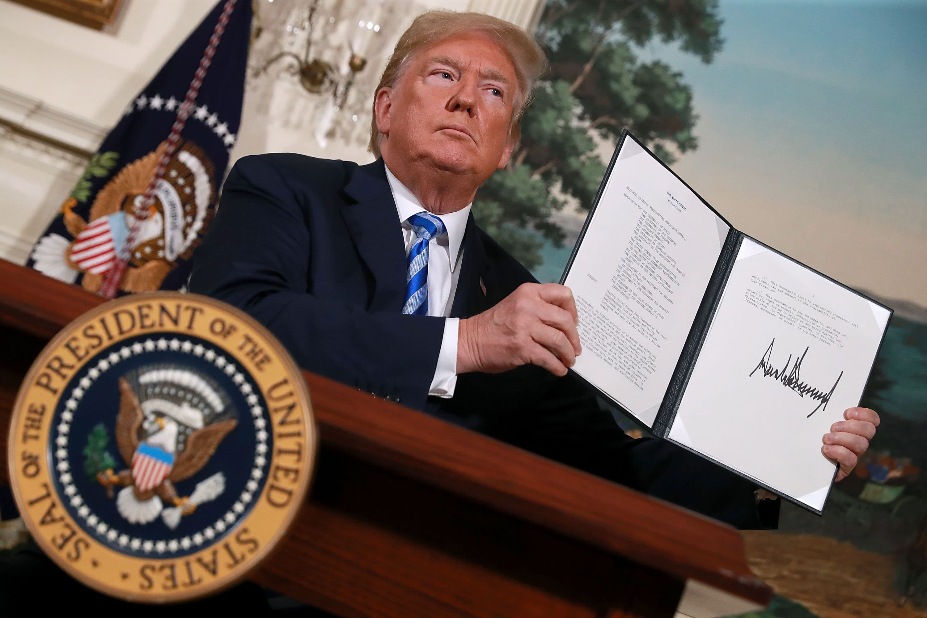 Donald Trump announces US withdrawal from the Iran nuclear deal, 8 May. (Photo: Chip Somodevilla/Getty Images)