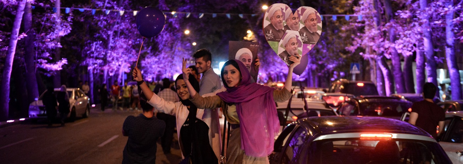 In Tehran, supporters of President Hassan Rouhani celebrate the election result. (Photo by Fatemeh Bahrami/Getty Images)