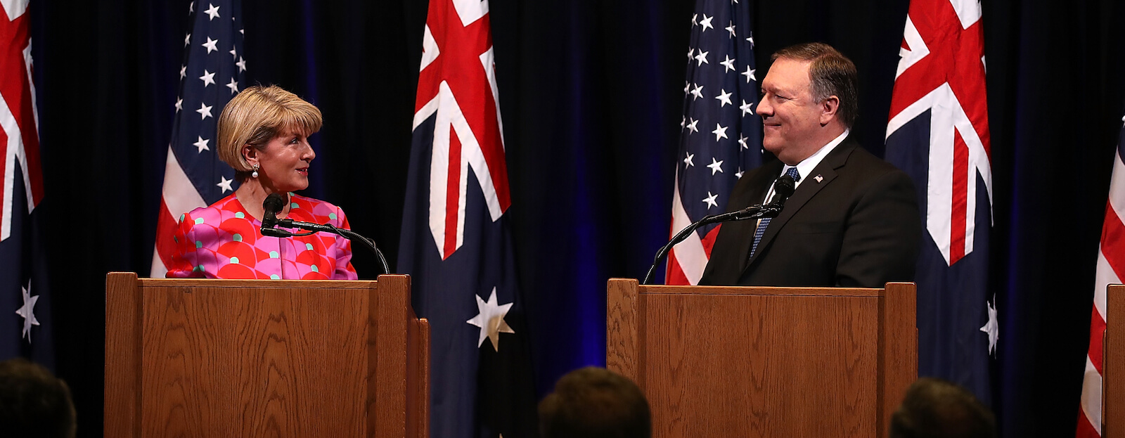 Julie Bishop and Mike Pompeo speak at Standford University in July (Photo: Justin Sullivan/Getty)