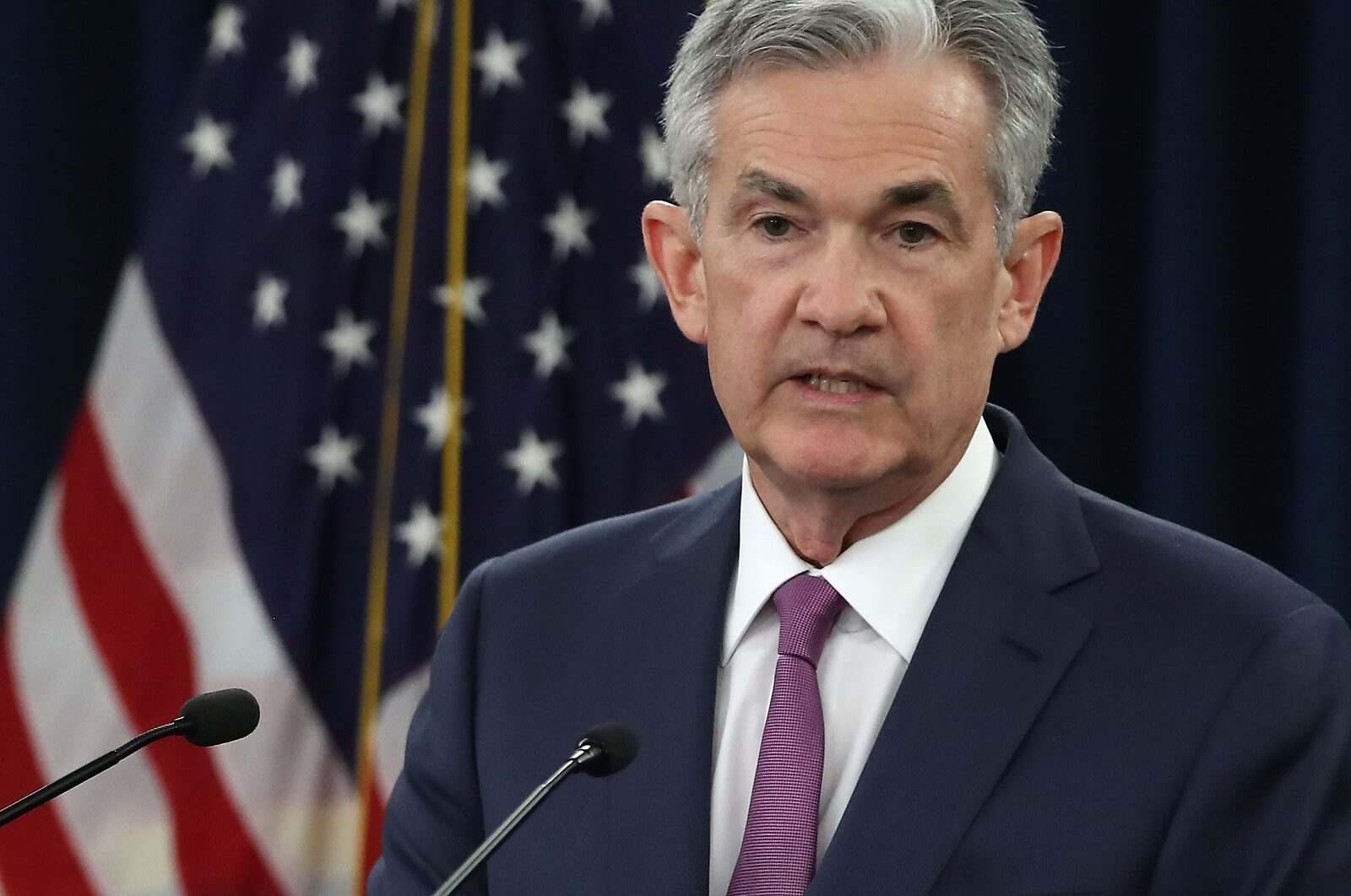 Federal Reserve Chairman Jerome Powell speaks at a news conference, 13 June 2018 (Photo: Mark Wilson/Getty)