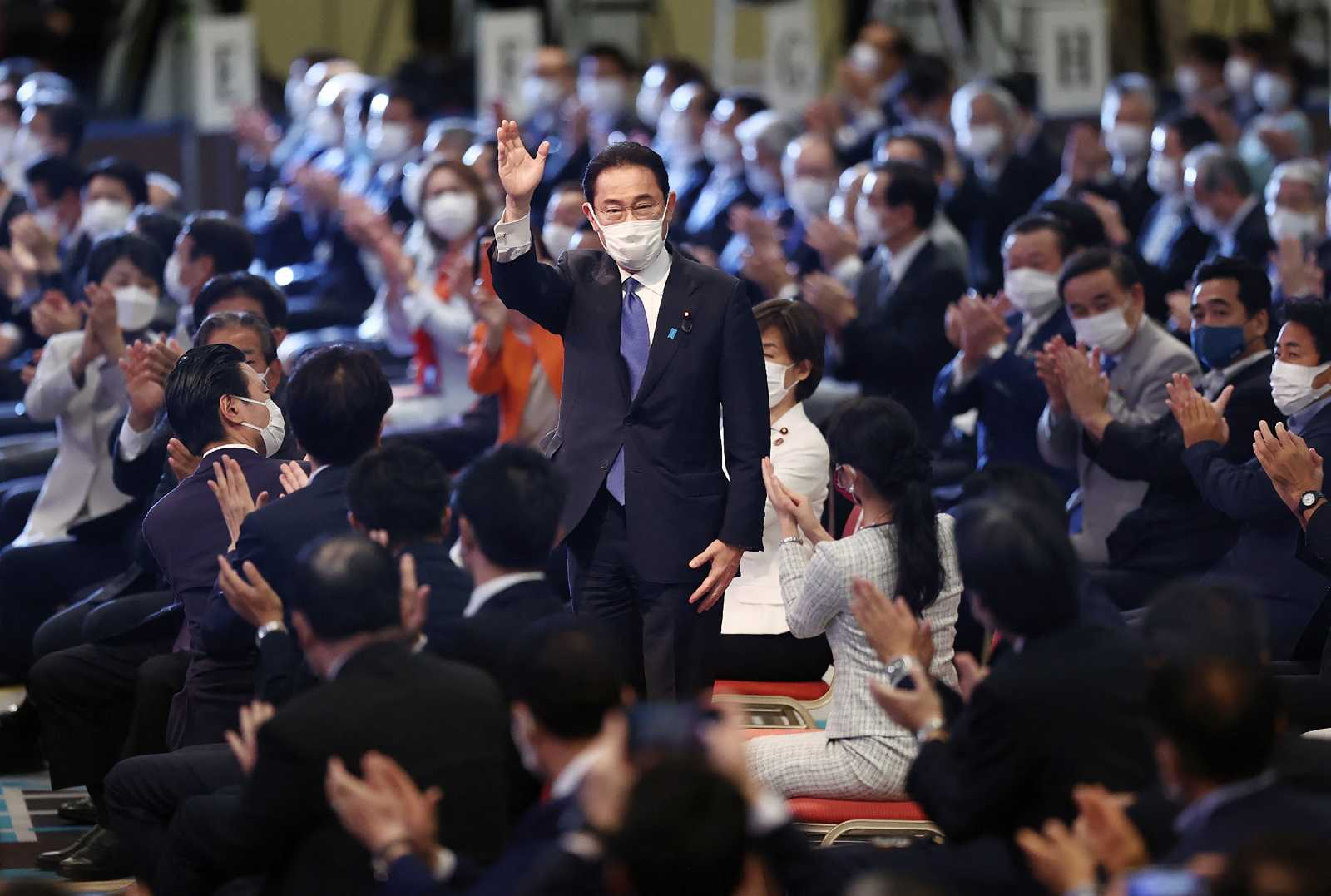 Fumio Kishida after being elected as the new president at the LDP election in Tokyo, 29 September 2021 (STR/Jiji Press/AFP via Getty Images)