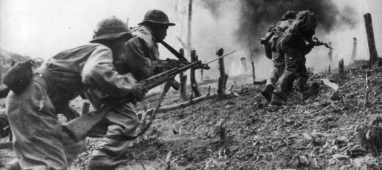 North Vietnamese troops during an assault on a South Vietnamese paratroop base at Laos. (Photo by Keystone/Getty Images)