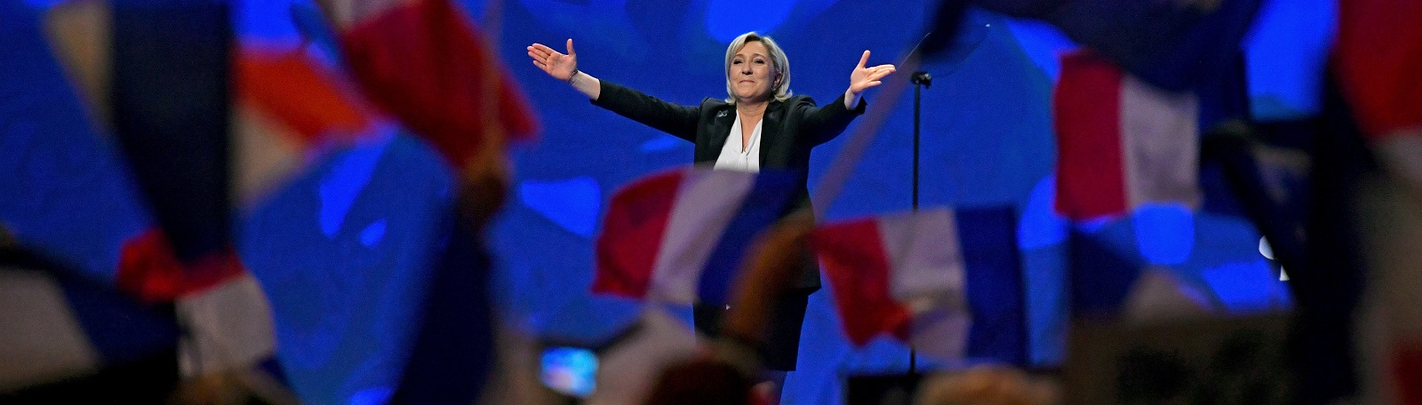 National Front Leader Marine Le Pen at a presidential campaign rally in Lyon on 26 February.  (Photo by Jeff J Mitchell/Getty Images)