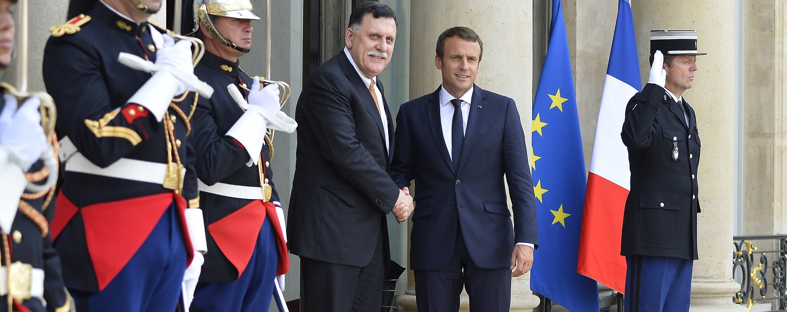 French President Emmanuel Macron with Fayez Al Serraj, PM of Libya's UN-backed government, on 28 August in Paris, France. (Photo: Aurelien Meunier/Getty Images)
