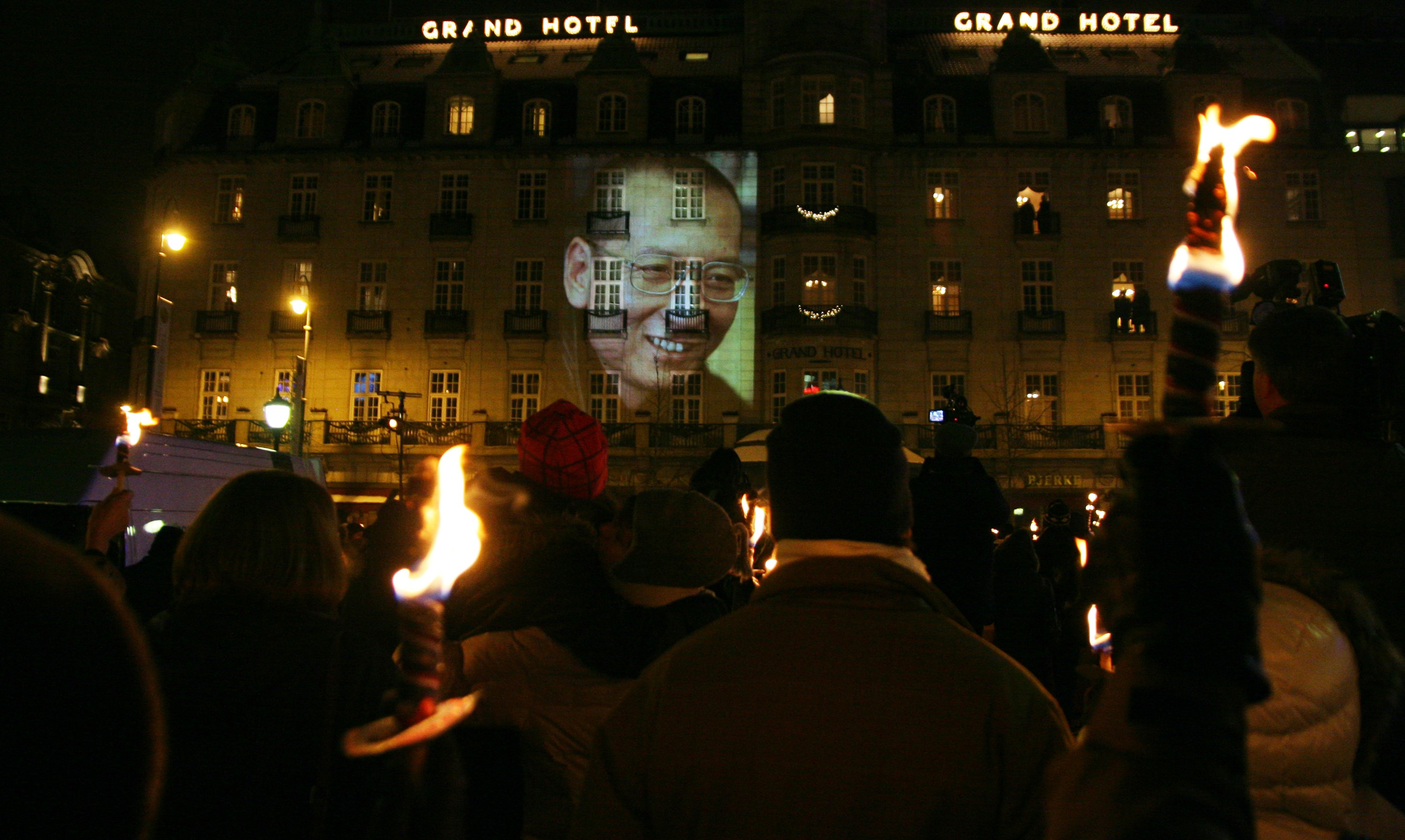 Liu Xiaobo's image projected onto an Oslo hotel after he was awarded the Nobel Peace Prize (Photo: Flickr/Aktiv|Oslo.no)