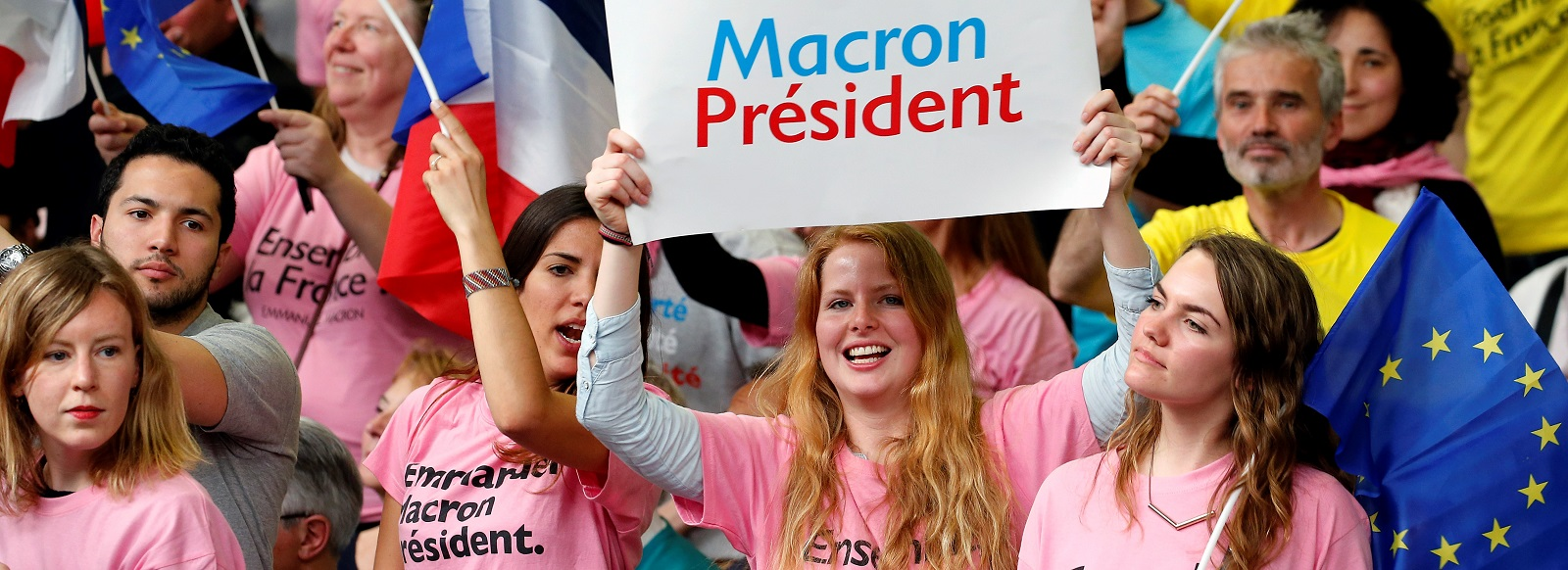 Emmanuel Macron supporters at a campaign rally in Paris on Monday. (Photo by Chesnot/Getty Images)