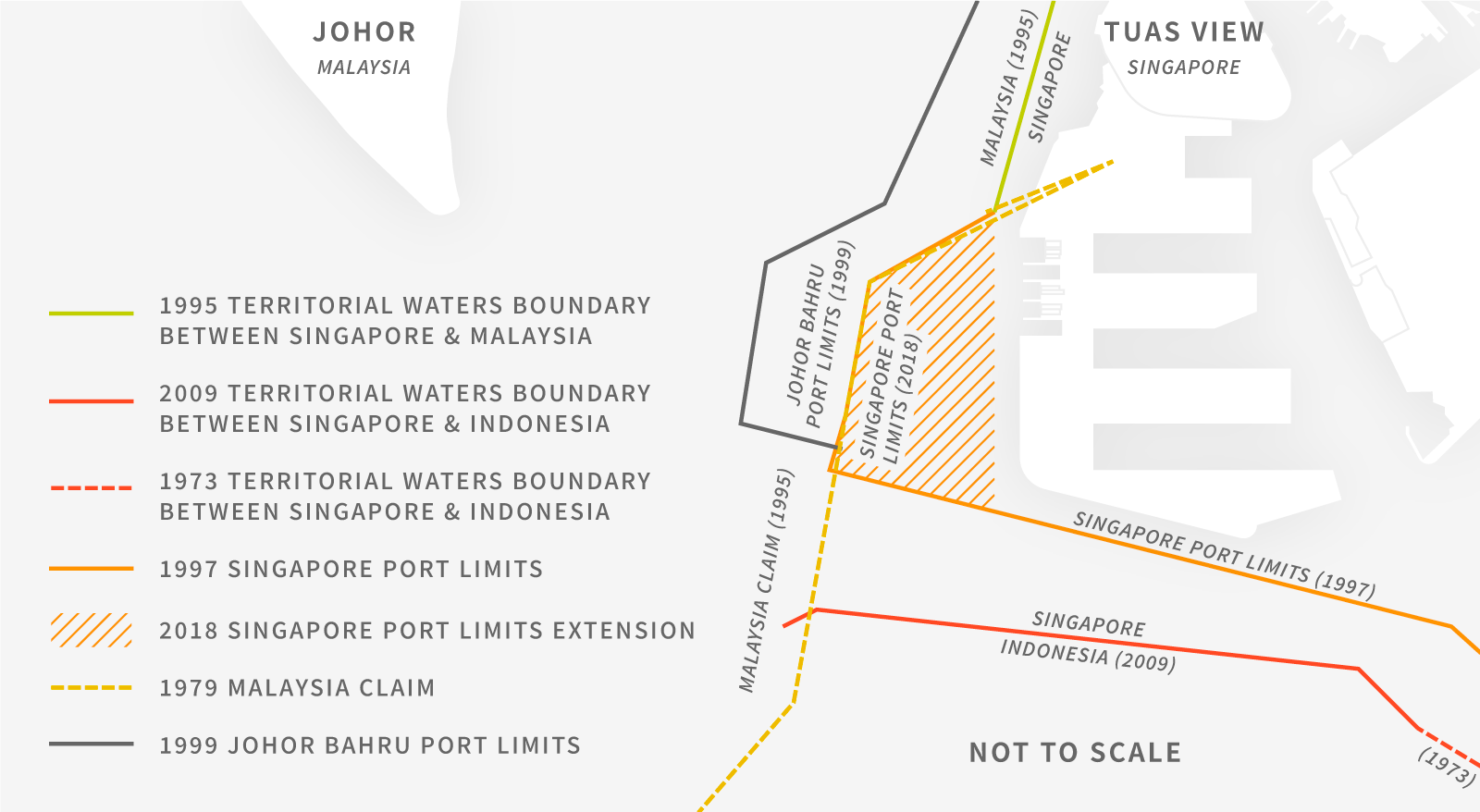 Contested port limits in the Johor Strait between Malaysia and Singapore