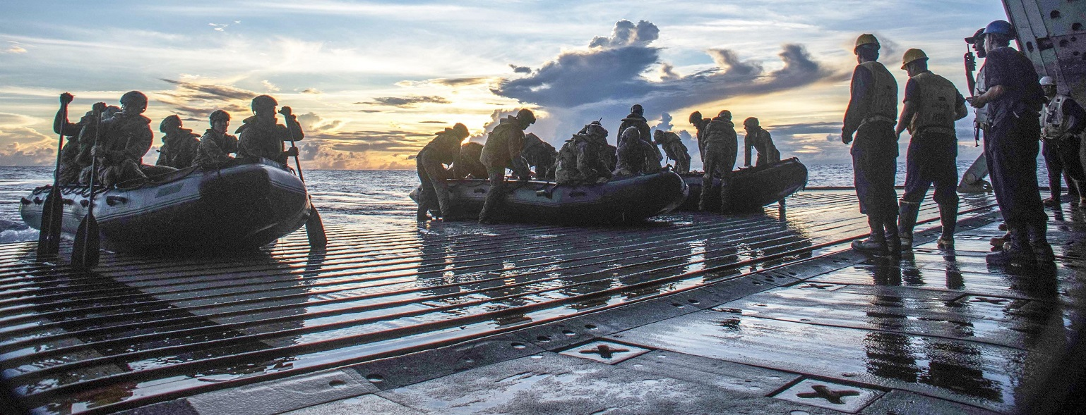 Sailors on the USS Germantown's flight deck in the South China Sea, October, 2016.  (Photo courtesy US Dept of Defense)