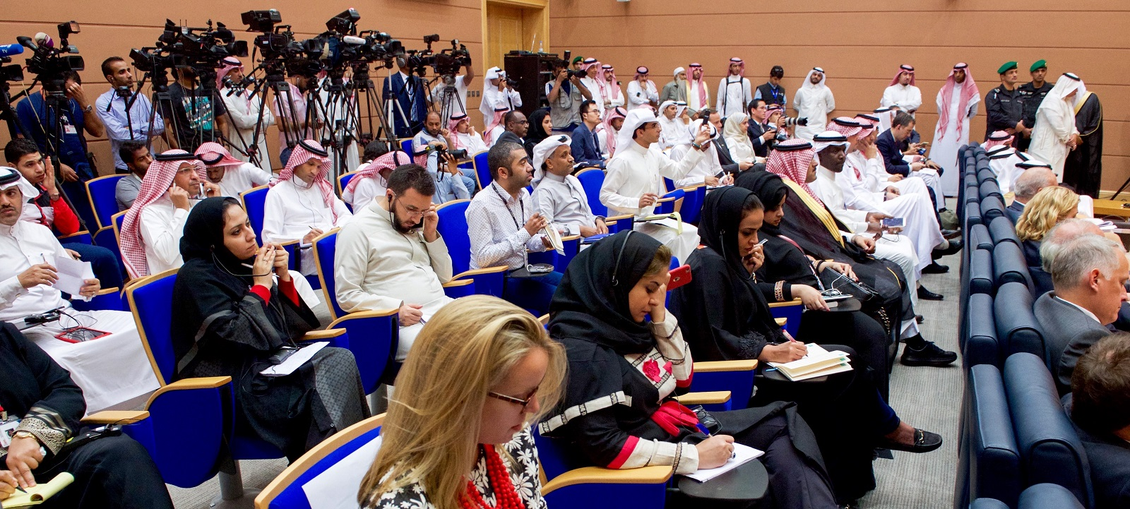 Reporters at a joint US/Saudi Arabia briefing on 25 August 2016 (Photo: US Dept of State)