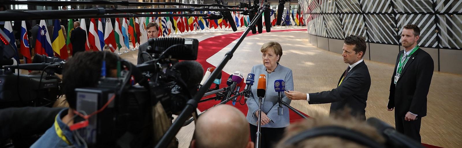 Angela Merkel speaks to the media ahead of an EU Council meeting in Brussels in April. (Photo: Dan Kitwood/Getty Images)