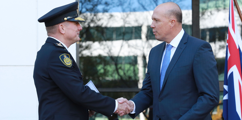 Home Affairs Minister Petter Dutton at the swearing in of Michael Outram as Commissioner of the Australian Border Force in May 2018. (Wikipedia)