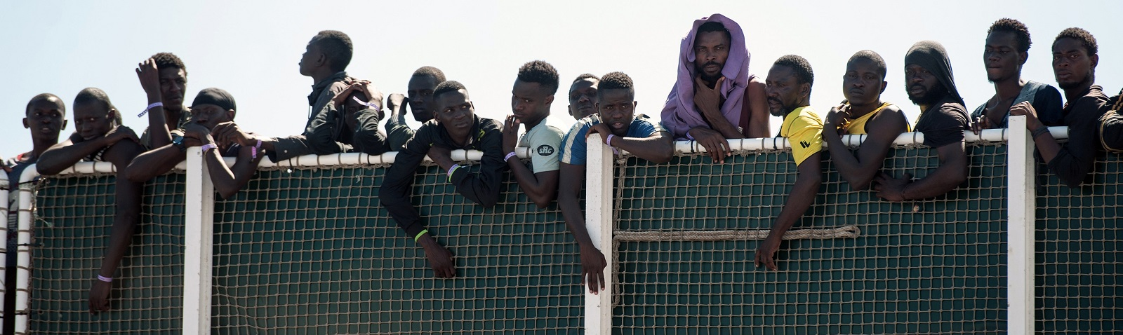 Migrants arriving at the Italian port of Salerno on 29 June (Photo: Ivan Romano/Getty Images)