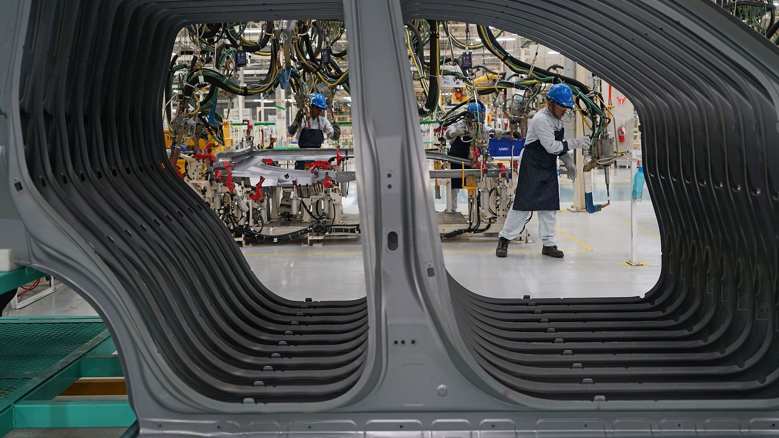 A production line at the new Mitsubishi Motors plant in Cikarang, Indonesia (Photo: Dimas Ardian/Getty Images)