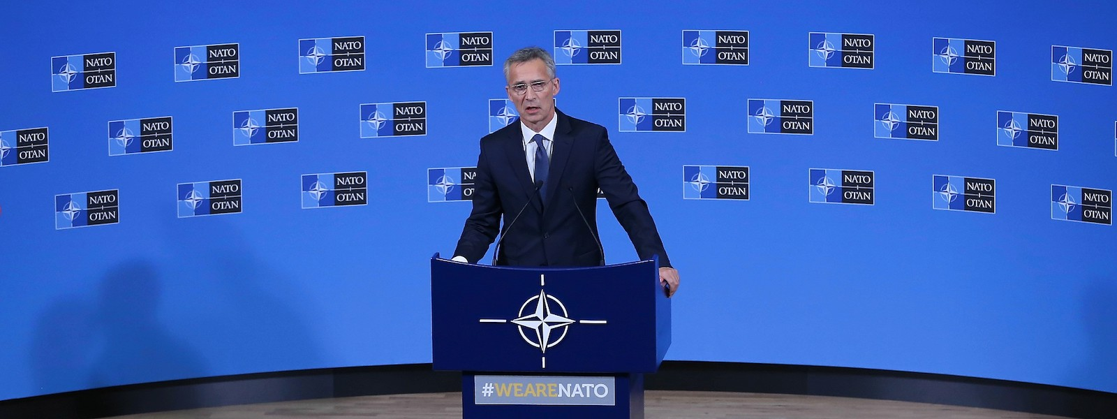 NATO Secretary General Jens Stoltenberg speaks in Belgium (Photo: Anadolu Agency/Getty)