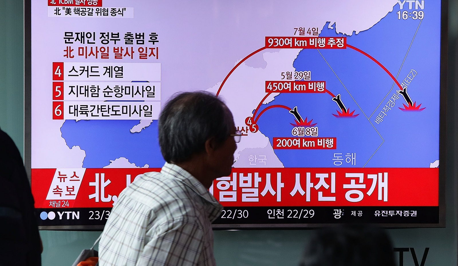 A South Korean television report on North Korea's July missile launch into Japanese waters (Photo: Chung Sung-Jun/Getty Images)