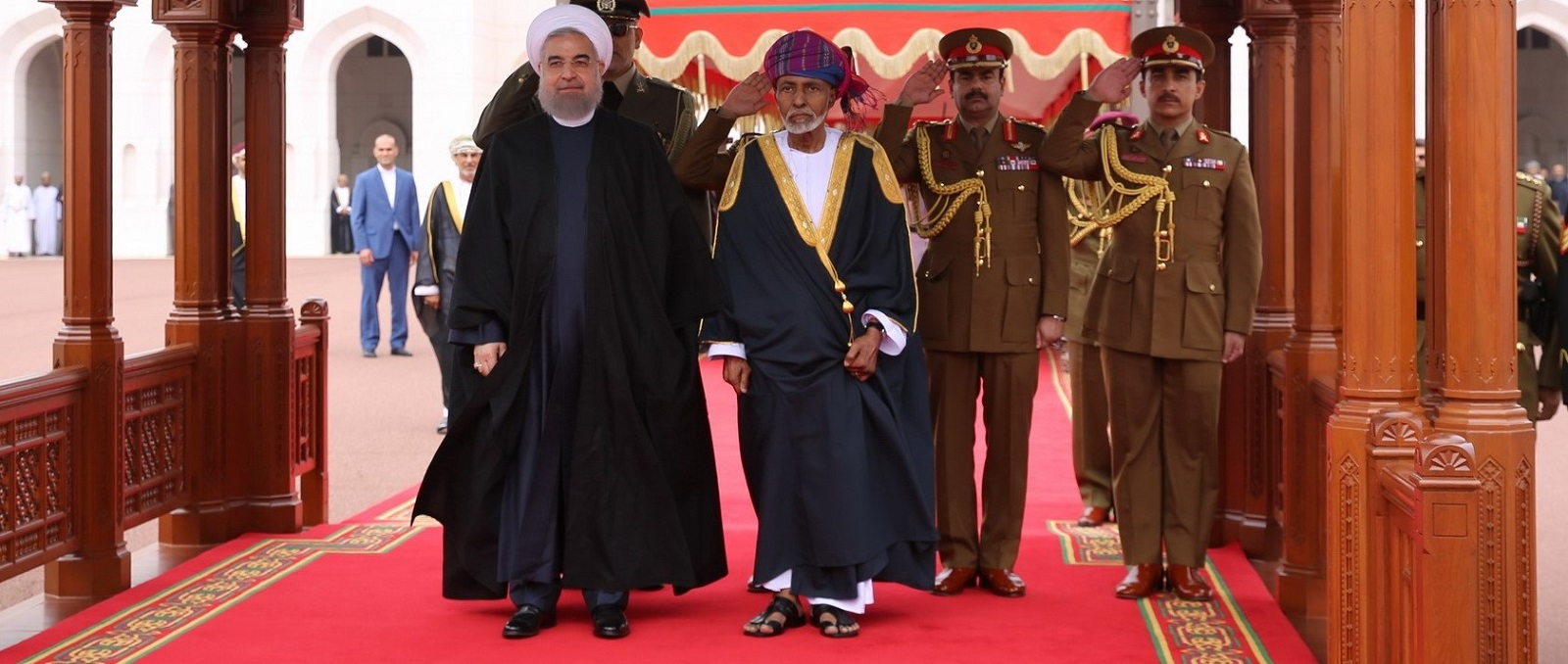 Iran's President Hassan Rouhani with Oman's Sultan Qaboos bin Said in Oman on 15 February 2017. (Photo: Presidency of Iran/Getty Images)