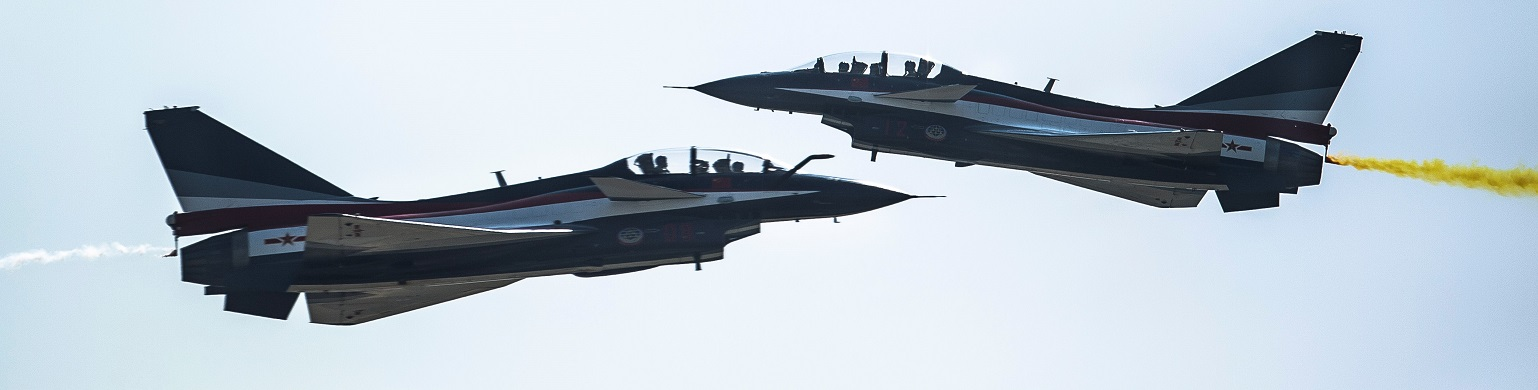 PLAAF J-10 jet fighters at China's International Aviation & Aerospace Exhibition in November 2016 (Photo: Power Sport Images/Getty Image)