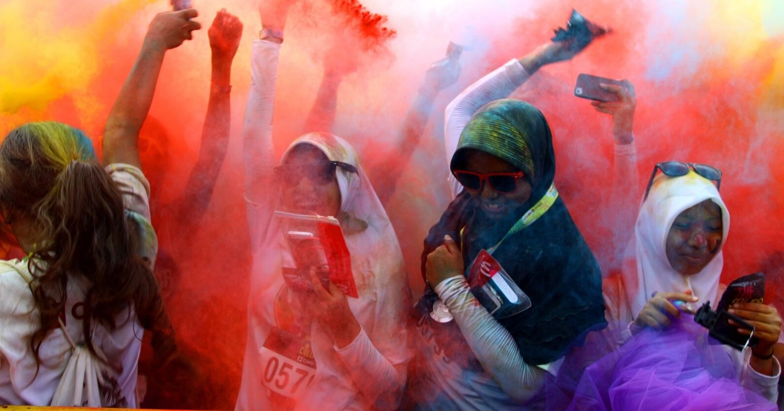 Participants in the Colour Run event, Jakarta, Indonesia, August 2016 (Photo: Natanael Pohan via Getty)