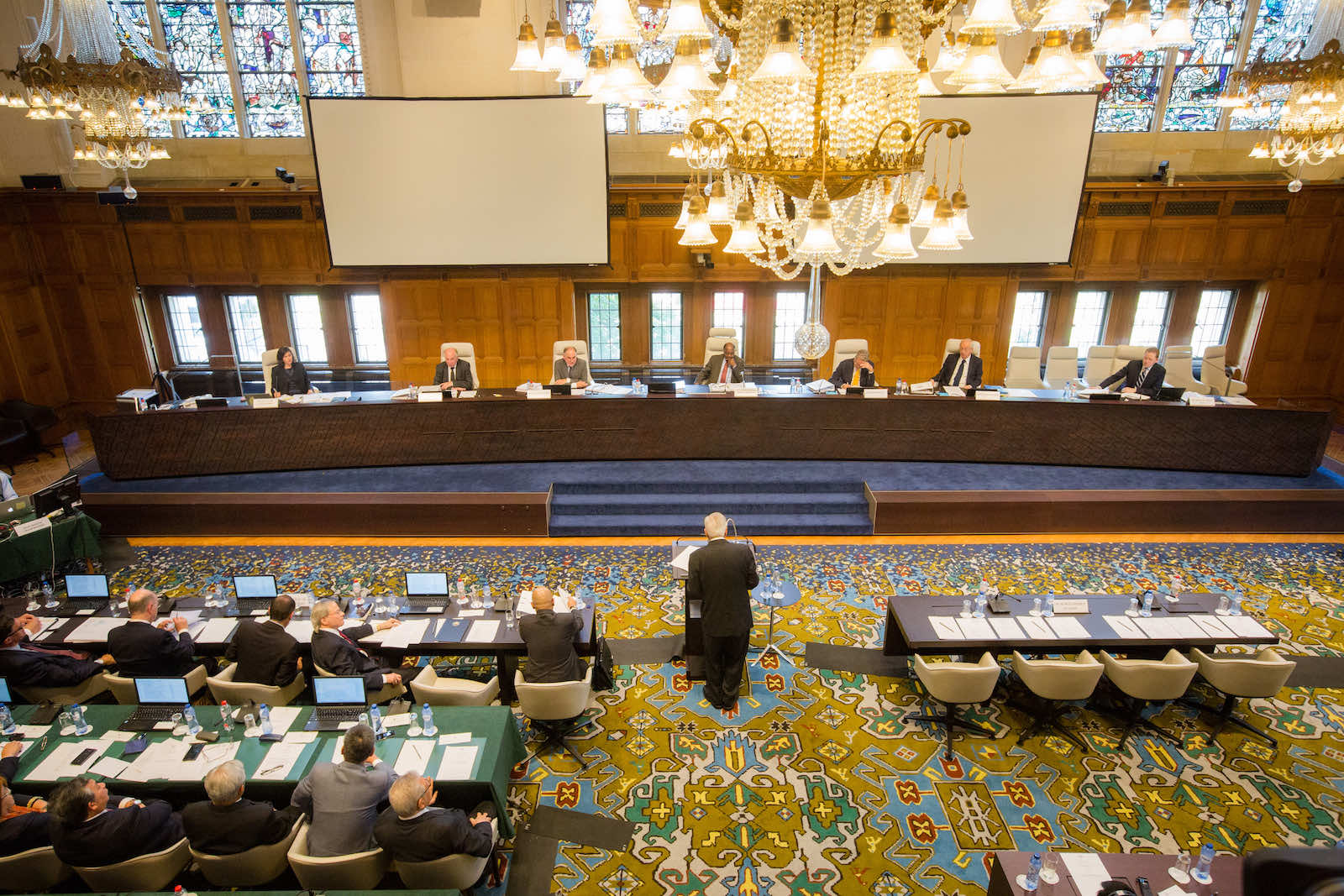 A hearing in session from the Permanent Court of Arbitration in the case of the Republic of Philippines vs the People's Republic of China, with a ruling delivered in 2016 (PCA 2013-19)