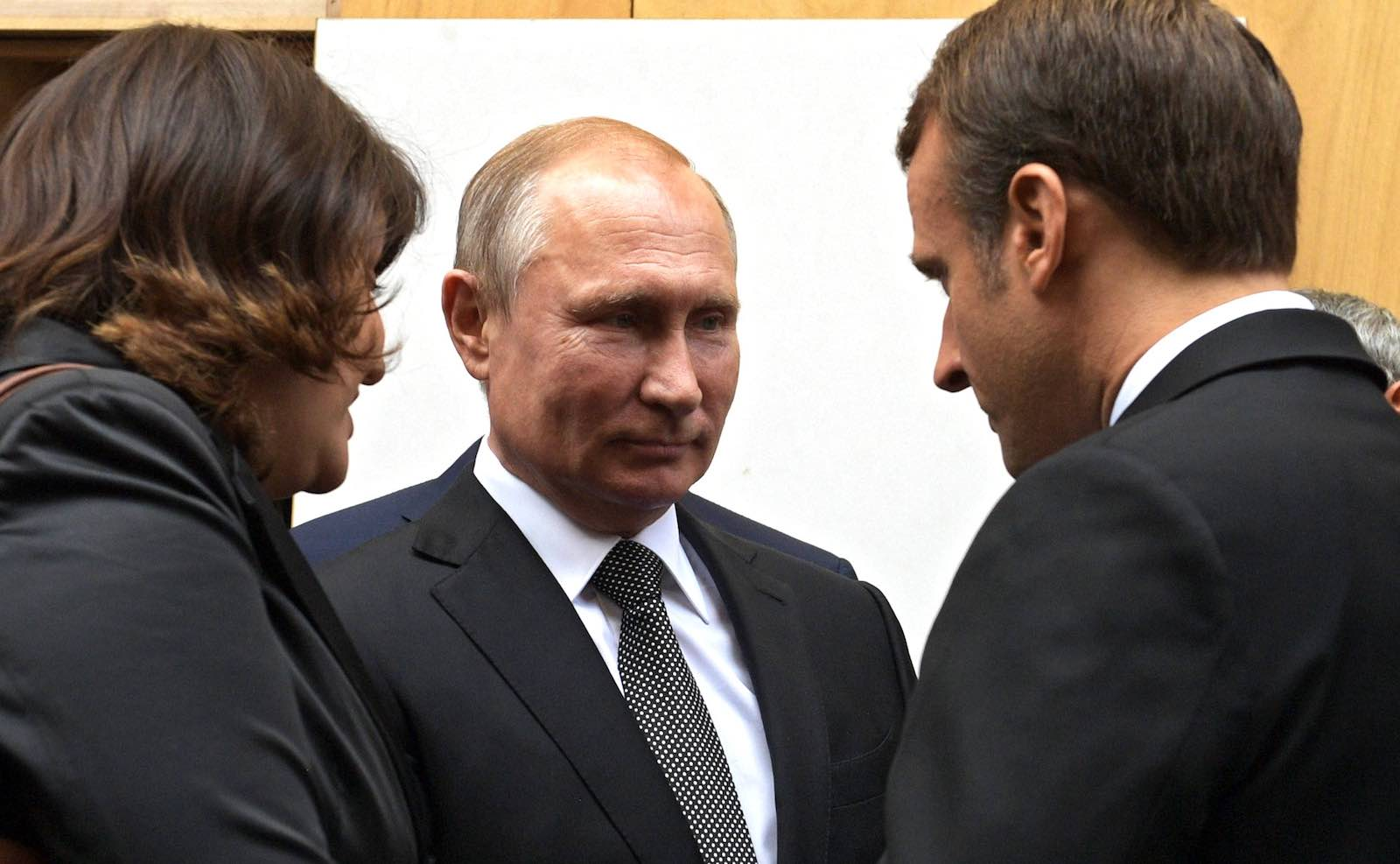 Russian President Vladimir Putin with French President Emmanuel Macron at the memorial service for former French President Jacques Chirac, 30 September 2019 (Photo: kremlin.ru)