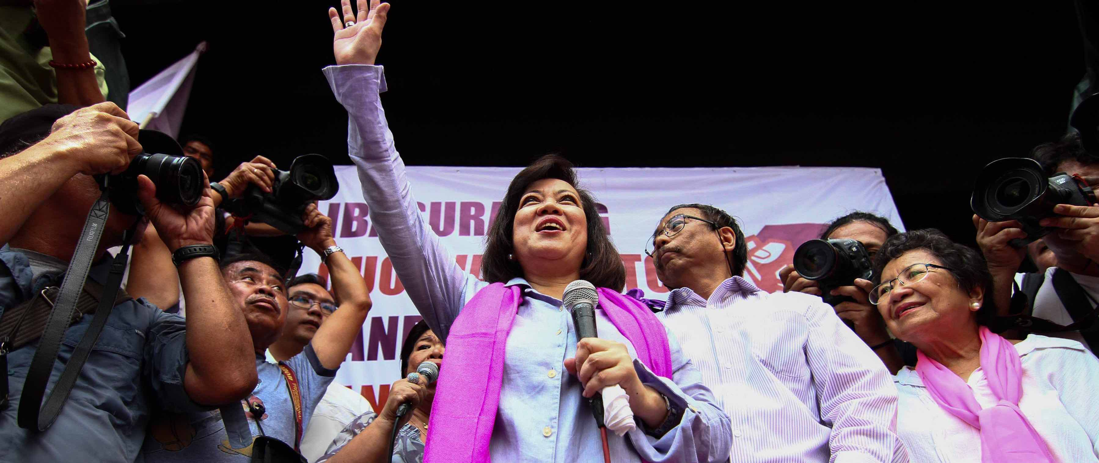 Ousted former chief justice Maria Lourdes Sereno with supporters in Manila (Photo: J Gerard Seguia/Getty)