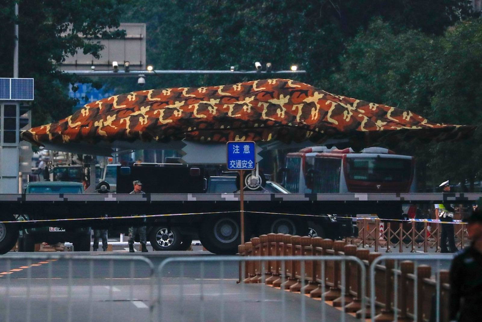 A truck carrying what is almost certainly the Sharp Sword drone ahead of a military parade in Beijing (Photo courtesy of Sinodefence Forum)