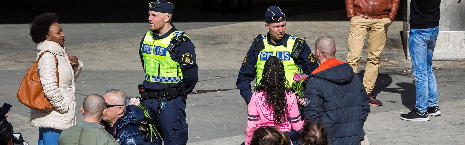 In the days after the attack Swedes have given flowers to police (Photo: Michael Campanella/Getty Images)