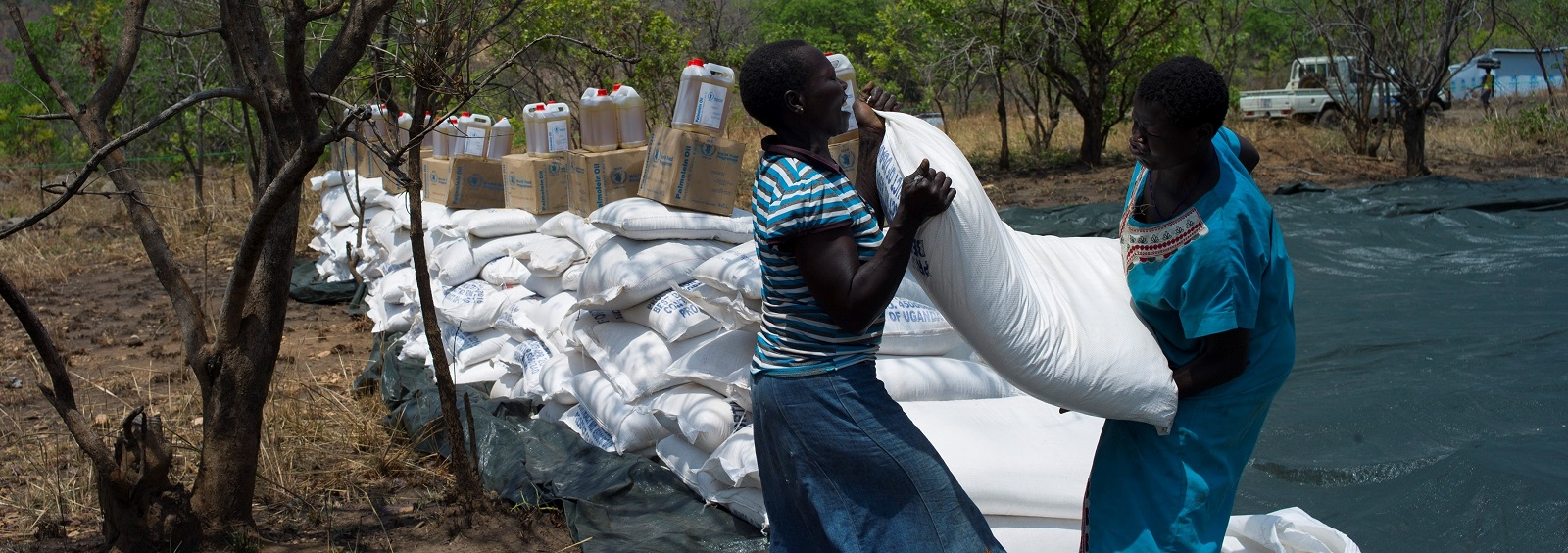 Refugees from South Sudan collect food from a distribution point on 23 February in Imvepi, Uganda (Photo: Dan Kitwood/Getty Images)