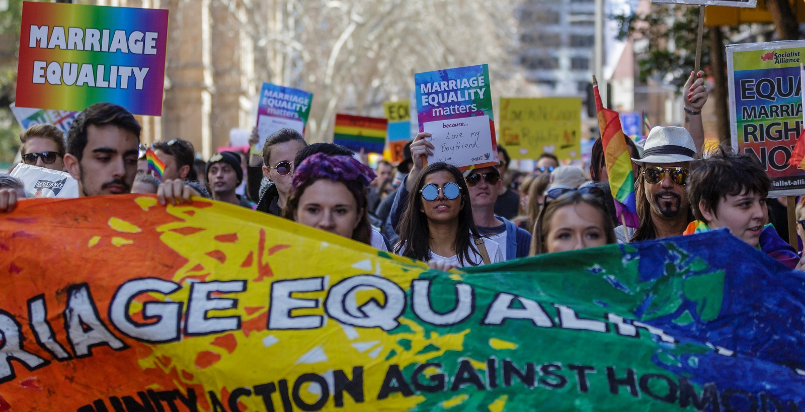 Protestors march through the Sydney CBD for Gay Rights on 6 August. (Photo: Brook Mitchell/Getty Images)