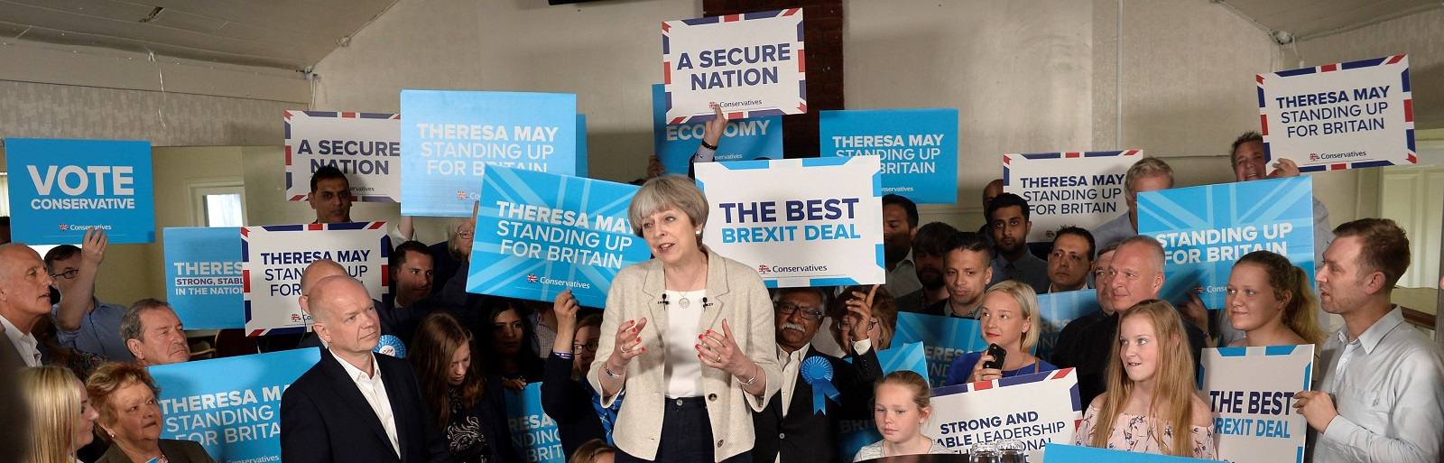Britain's Prime Minister Theresa May at a campaign event last week. (Photo by Hannah McKay/Getty Images)
