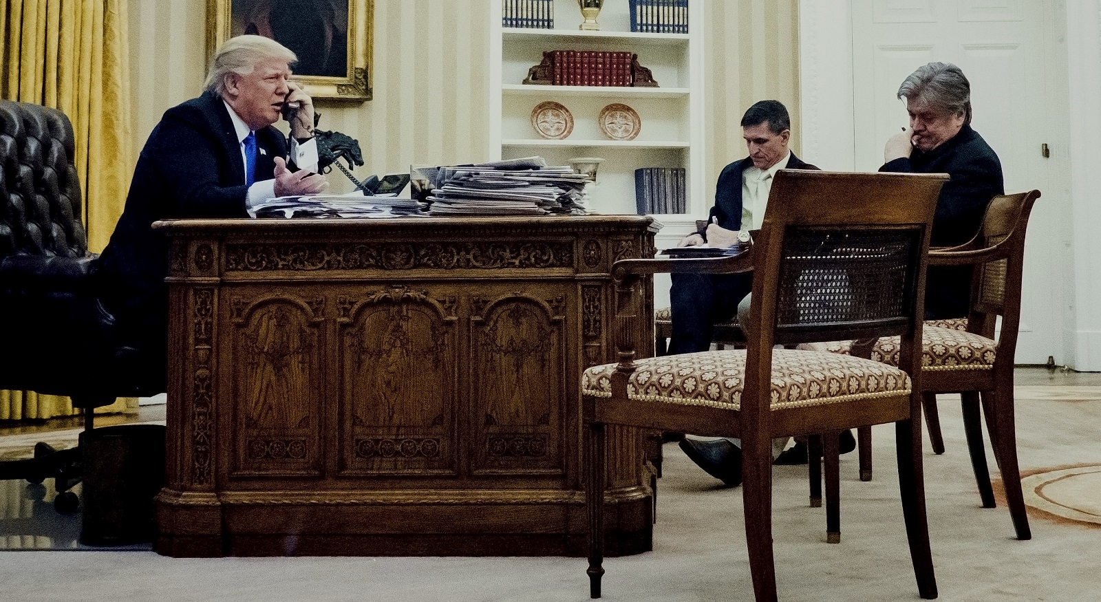US President Donald Trump on the phone with Malcolm Turnbull on 28 January. (Photo: Pete Marovich/Getty Images)