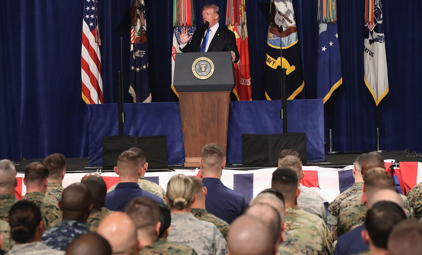President Trump speaks on America's military involvement in Afghanistan at the Fort Myer base in Arlington, Virginia. (Photo: Mark Wilson/Getty Images)