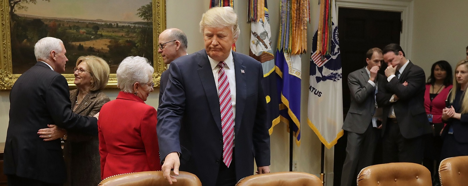 President Donald Trump meets with House of Representatives committee leaders on 10 March. Photo (Chip Somodevilla/Getty Images)