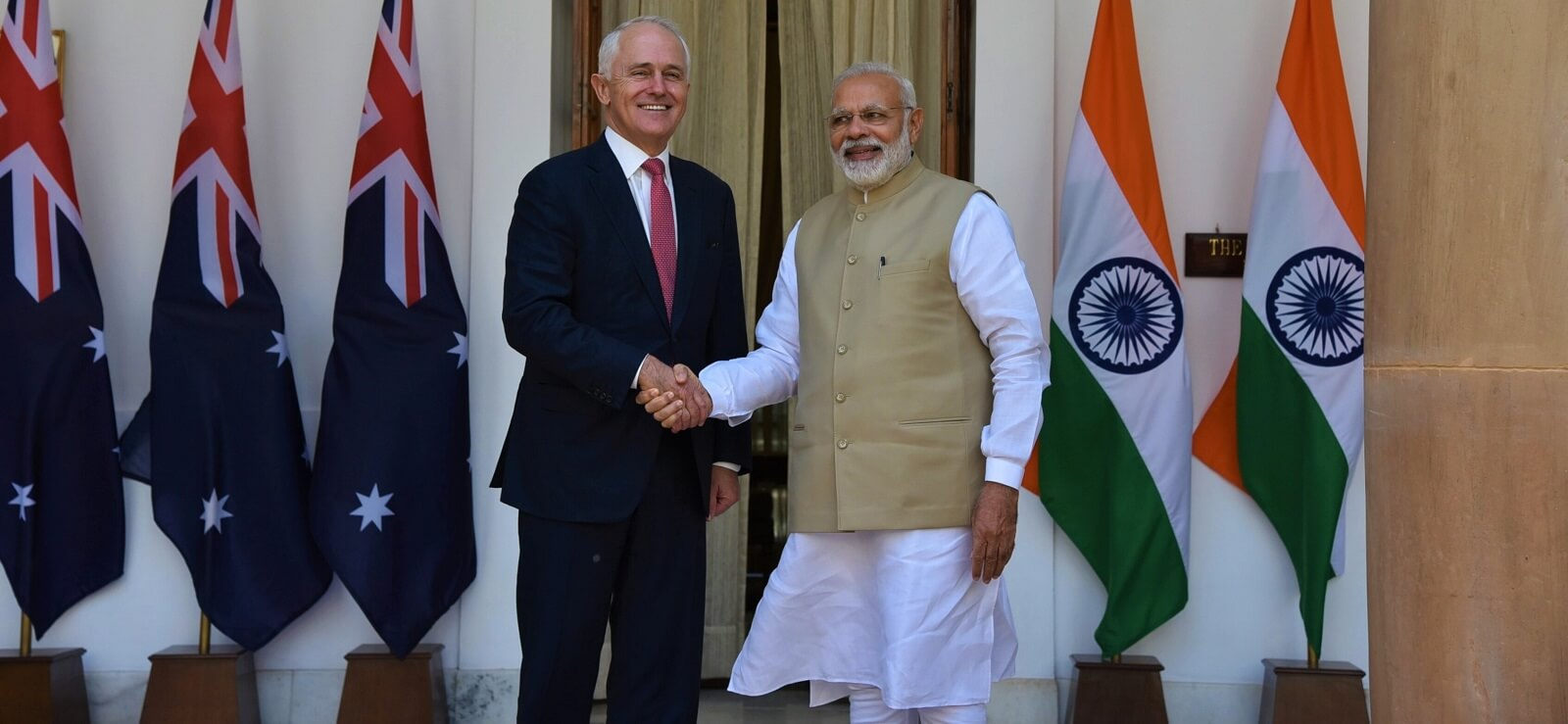 Australian Prime Minister Malcolm Turnbull meets with Indian Prime Minister Narendra Modi in New Delhi, 2017 (Photo: MEAphotogallery/Flickr)