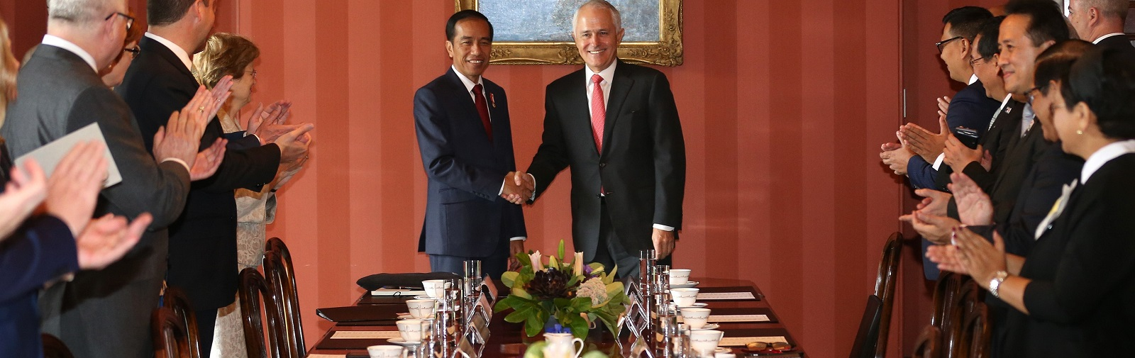 Australian PM Malcolm Turnbull and Indonesia President Joko Widodo during talks at Admiralty House in Sydney on 26 February. (Photo: David Moir/AFP/Getty Images)