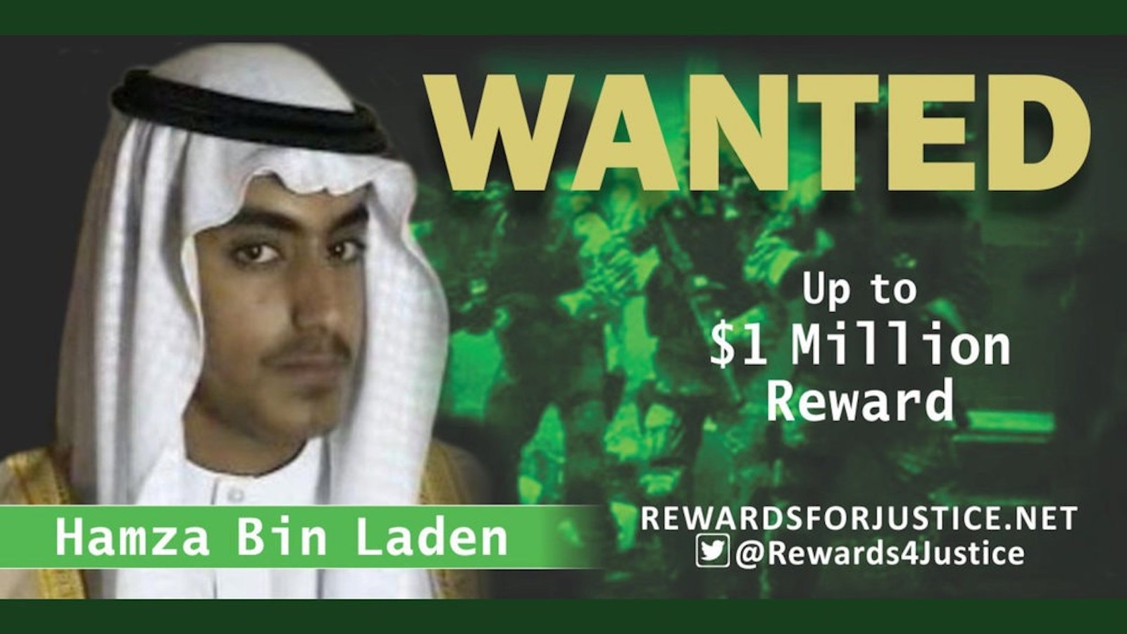 Wanted poster for Hamza bin Laden issued by the US State Department