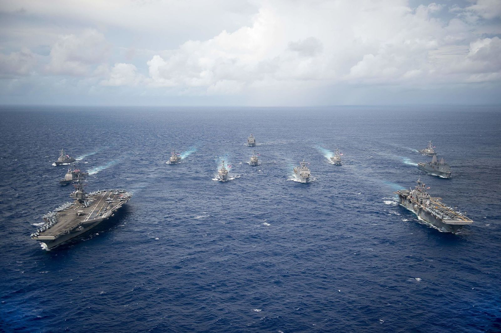 USS Ronald Reagan leads Carrier Strike Group Five and Expeditionary Strike Group Seven ships in an exercise in 2016. (Photo: US Navy/Creative Commons)