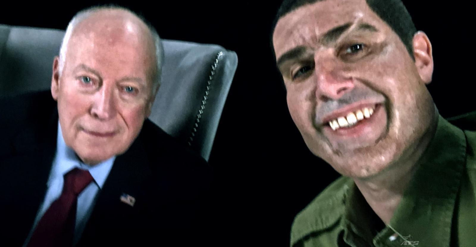 "Former US vice president Dick Cheney with ""Colonel Erran Morad"", comedian Sacha Baron Cohen's Israeli anti-terror expert alter ego  (Photo: Stan)"